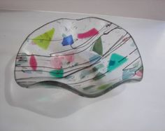 "Items similar to BOWL - Fused Glass Bowl - 12"" Diameter - Black with Spring Green and Dichroic Accents on Etsy"