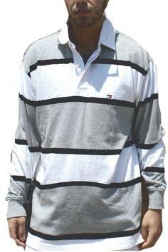 70408b44 90s stripped Tommy Hilfiger long sleeve shirt MEN Size M/L chest 42