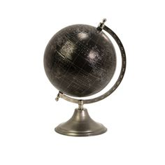The Moonlight Globe features a 13-inch tall black ocean globe with silver landmass outlining along with longitude and latitude lines and a complementing nickel plated numbered meridian and brushed silver base. #imaxglobes #oldworldglobes #antiqueglobes #education #geography #teaching #vintage #toys