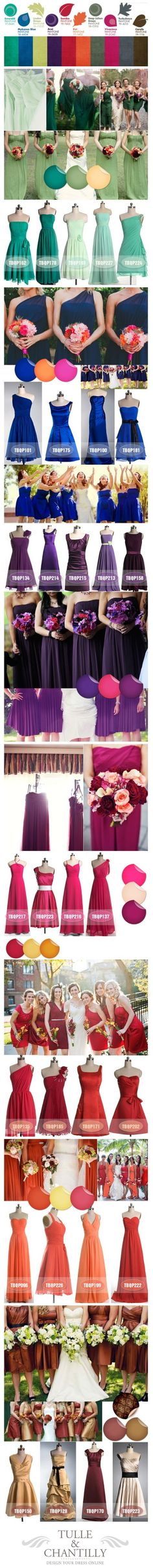 Purple, blue, green, red, orange, golden/caramel, etc. for the bridesmaid dresses and color ideas for a Fall wedding.