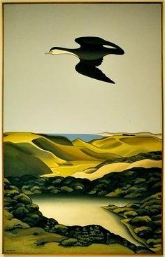 Don Binney - Lake Kawaupaku, Bethells Landscape Artwork, Abstract Landscape, Pictures Images, Art Images, New Zealand Adventure, New Zealand Art, Nz Art, Animal Drawings, Drawing Animals
