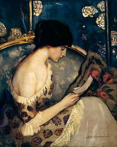 """A Letter from the Front (Girl on Couch)"", 1915, by Agnes Noyes Goodsir (Australian, 1864-1939)"