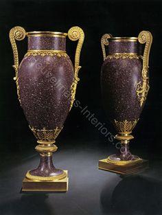 www.heuvelmans-interiors.com Gilt bronze vases with semi precious stone porphyry after study Hermitage Museum, Malakite Room, Winter Palace