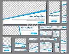 Вектор: Templates web banners in standard sizes with space for photo