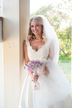 gorgeous lace gown + classic pearls | Jennings King #wedding @Maegen Lewis Lewis george