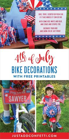 School is officially over and summer has begun! It's time to start thinking about all of the fun that summer brings. A major highlight of summer is always 4th of July. I remember as a kid, my brother and I would have so much fun decorating our bikes for our community 4th of July parade. I love the idea of continuing this same tradition with my kids. I recently created some patriotic free printables to make decorating bikes for July Fourth a breeze.