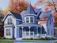Casa plan W4572 Style At Home, Country Style House Plans, Country Style Homes, Cottage Style, Victorian House Plans, Victorian Style Homes, Victorian Farmhouse, Victorian Houses, Victorian Cottage