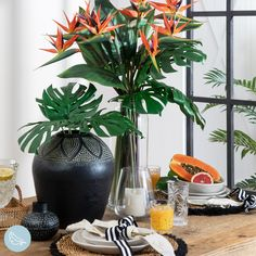 Add a touch of tropical to your table with bright and sunny artificial bird of paradise stems! #artificialflowers #fakeflowers #imitationflowers #flowers #diyhomedecor #homedecor #diy #homestyle #homestyling #artificialflowerarranging #artificialflowerarrangement #flowerdecor Succulent Pots, Planting Succulents, Potted Plants, Paradise Flowers, Artificial Birds, Artificial Flower Arrangements, Plastic Glass, Fake Flowers, Stems