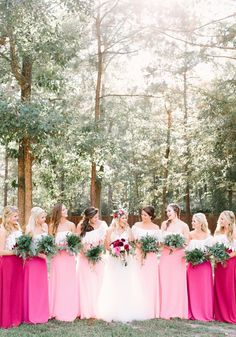 Love this Ombre Pink Bridesmaid Dress look - beautiful!photo DIY floral design by bride . Ombre Bridesmaid Dresses, Backless Bridesmaid Dress, Hot Pink Bridesmaids, Bridesmaid Color, Bohemian Wedding Inspiration, Bohemian Wedding Dresses, Bridesmaid Inspiration, Sage Wedding, Chic Wedding