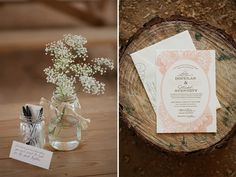 Mason jars, baby's breath, Lucky Luxe Couture Correspondence vintage letterpress invitations, Country chic