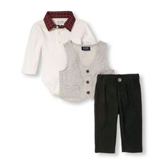 Baby Boys Long Sleeve Plaid Collar Bodysuit French Terry Bow Tie Vest