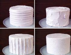 Tutorial: Four easy textured buttercream cakes http://stylesweetca.com/2013/05/06/textured-buttercream-cakes/