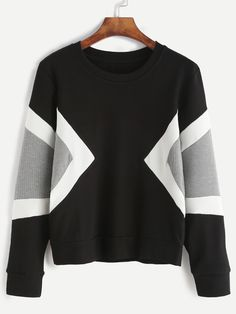 Black Contrast Panel Sweatshirt Mobile Site