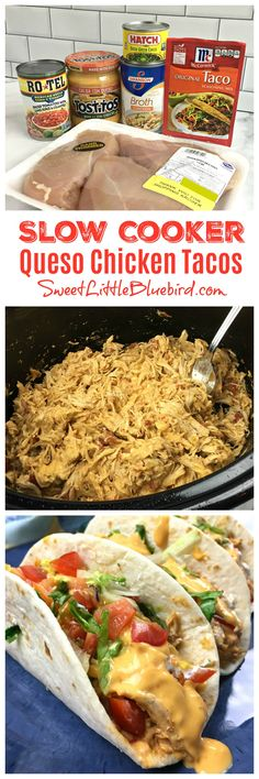 Todays' recipe is a tasty twist for one of my most popular slow cooker recipes Slow Cooker Queso Chicken Tacos! SLOW COOKER QUESO CHICKEN TACOS Taco night just got a lot more flavorful with - food-recipes Crock Pot Recipes, Crockpot Dishes, Crock Pot Cooking, Slow Cooker Recipes, Chicken Recipes, Cooking Recipes, Crockpot Meals, Easy Recipes, Beef Recipes