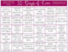 If your marriage could use a little help in the sex department, take the 30 Days of Love Challenge. Print this free printable for couples and take the journey to a better marriage and sex life. Marriage Challenge, 365 Day Challenge, Relationship Challenge, Thigh Challenge, Plank Challenge, Relationship Therapy, Marriage Relationship, Happy Relationships, Marriage Help