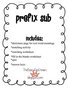 PREFIXES BUNDLE! dis, mis, pre, re, and un- activities