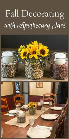 Learn how decorating with apothecary jars can create a beautiful setting for fall using affordable items that you probably already have around the house.