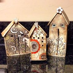 Barbara Chadwick's little porcelain houses Clay Houses, Ceramic Houses, Paper Houses, Miniature Houses, Ceramic Clay, Art Houses, Wood Houses, Recycled House, Pottery Houses