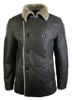 Mens Real Shearling German Navy Sheepskin Double Breasted Jacket Khaki Black. #Jacket #menswear #clothing #style #leather #shopping