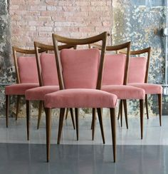 Melchiorre Bega; Walnut Dining Chairs, 1960s.