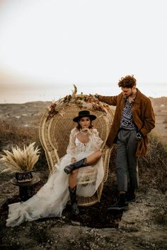 Fashion-Forward Destination Elopement with all the Pampas Grass under an Old Windmill Western Photography, Chair Photography, Couple Photography Poses, Boudoir Photography, Friend Photography, Family Photography, Santorini Wedding, Greece Wedding, Exotic Wedding
