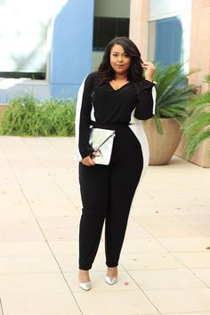 Today's post is for my sporty girls who want to add a touch of glam and for my glam babes who want to channel a little street style. This monochromatic jumpsuit from Fashion to Figure marries the t...