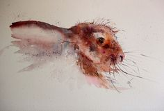 """Gorgeously expressive! """"Lucky Hare"""" (watercolor) by Jean Haines, featured at ArtistsNetwork.com. #watercolor #painting"""