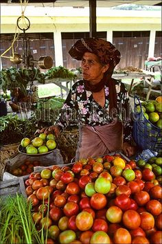 Asia, indonesia, sumatra, brastagi, market scene with batak tribe woman