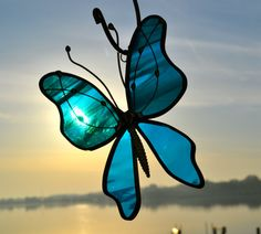 Deep Aqua Butterfly Stained Glass Suncatcher by dortdesigns, $12.00