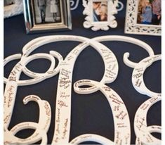 How cute to use this wooden monogram as a sign in board for a bat mitzvah or sweet 16? Go to www.initialoutfitters.net/Mferber