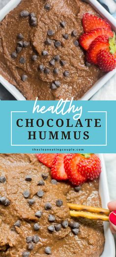 This Healthy Chocolate Hummus is great for a lighter dessert or afternoon snack! Packed with protein and sweetened with just a touch of maple syrup - dip pretzels or fruit for a delicious after school snack! It tastes like brownies and is the perfect homemade treat. I'm sharing what to eat it with and how to make it!