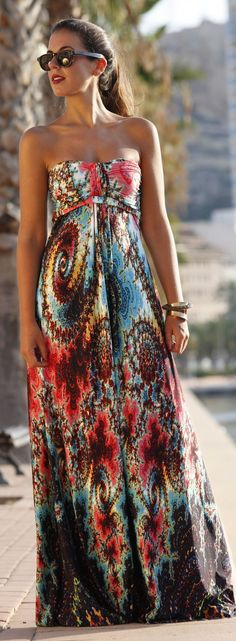 Floor Length Abstract Print Off The Shoulder Gown by 1sillaparamibolso