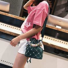 9ac201ca33b1 Green Studded Bucket Handbags Faux Leather Bag with Scarf Bucket Handbags