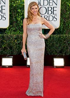 Connie Britton shimmered in a strapless Kaufman Franco gown at the Golden Globes 2013