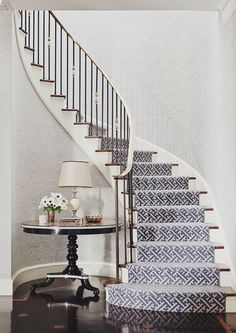 staircase - Markham Roberts Carpet selection for stairs. This staircase – Markham Roberts Carpet selection for stairs. This staircase - Markham Roberts Carpet selection for stairs. This staircase – Markham Roberts Carpet selection for stairs. Staircase Runner, New Staircase, Curved Staircase, Staircase Design, Stair Runners, Spiral Staircases, Staircase Architecture, Staircase Ideas, Interior Architecture