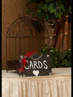Vintage wedding bird cage for cards