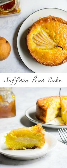 A tender and moist saffron-infused butter cake made with bosc pears. via MonPetitFour.com
