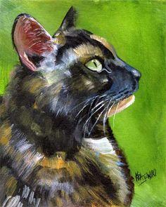 Tortie gato impresión del arte de la pintura de acrílico Original - 8 x 10