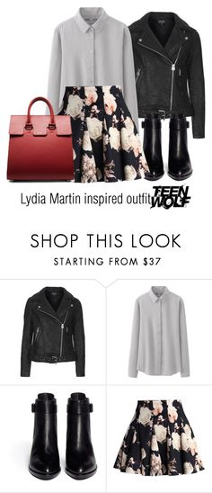 """""""Lydia Martin inspired outfit/Teen Wolf"""" by tvdsarahmichele ❤ liked on Polyvore featuring Topshop, Uniqlo, Alexander Wang and Chicwish"""