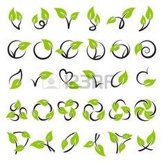 leaf logo: Leaves. Vector logo template set. Elements for design. Icon set.