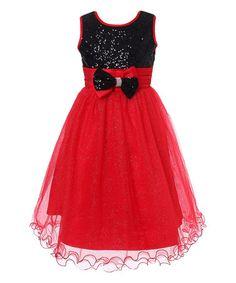 Another great find on #zulily! Black & Red Sequin Glitter Overlay Dress - Girls #zulilyfinds