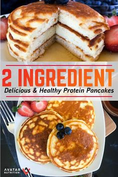 - 2 Ingredient Protein You read right–This entire recipe has 0 fat and just 1 carb! They're magical macros for the taste! Feel free to add fun toppings like low calorie ice cream (arctic zero and halo top are great), peanut butter, and syrups! Low Calorie Pancakes, Healthy Protein Pancakes, Protein Powder Pancakes, High Protein Desserts, Whey Protein Recipes, Pancake Calories, High Protein Breakfast, Protein Powder Recipes, High Protein Low Carb