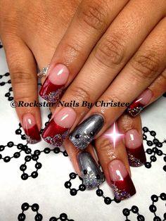 #rockstar_nails_by_christee #gelish #acrylic #nails #bling