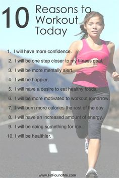 Some days we struggle with the motivation needed to workout. Print these 10 reasons to workout to give you the self-motivation needed. #FitnessInspiration