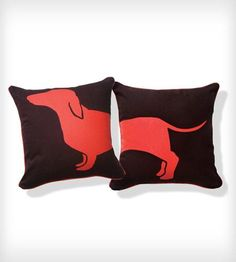 Happy Hot Dog Pillow - Orange and Brown