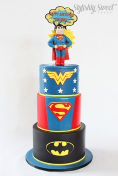 Superhero cake www.stylishlysweet.com.au