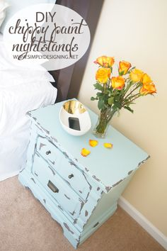 DIY Chippy Paint Turquoise Nightstands | #diy #paint #furniture