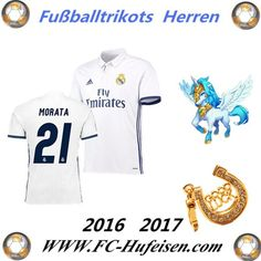 Neue Fussball Trikots Real Madrid Weiß (MORATA 21) Heim Saison 2016 2017 Billig