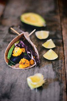Roasted Cauliflower Tacos with Cumin, Za'atar, Avocado, Ref Cabbage Slaw and Lime
