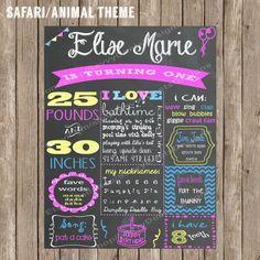 Safari/Animal Theme Chalkboard Birthday Poster Digital file